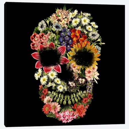 Vintage Floral Skull On Black Canvas Print #TFA261} by Tobias Fonseca Canvas Art Print