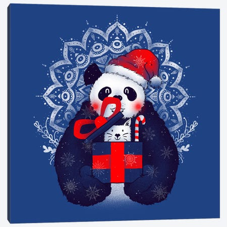 X-mas Panda Canvas Print #TFA273} by Tobias Fonseca Canvas Art