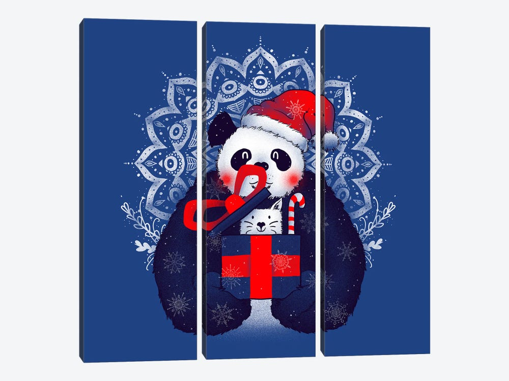 X-mas Panda by Tobias Fonseca 3-piece Canvas Wall Art