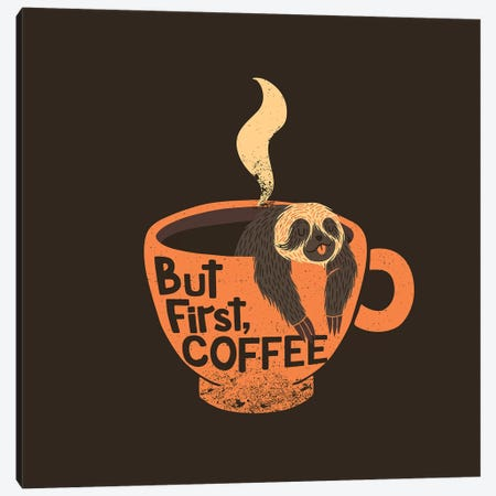 But First, Coffee, Square Canvas Print #TFA285} by Tobias Fonseca Canvas Art