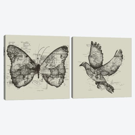 Butterfly Effect & Wanderlust Diptych Canvas Print Set #TFA2HSET001} by Tobias Fonseca Canvas Wall Art