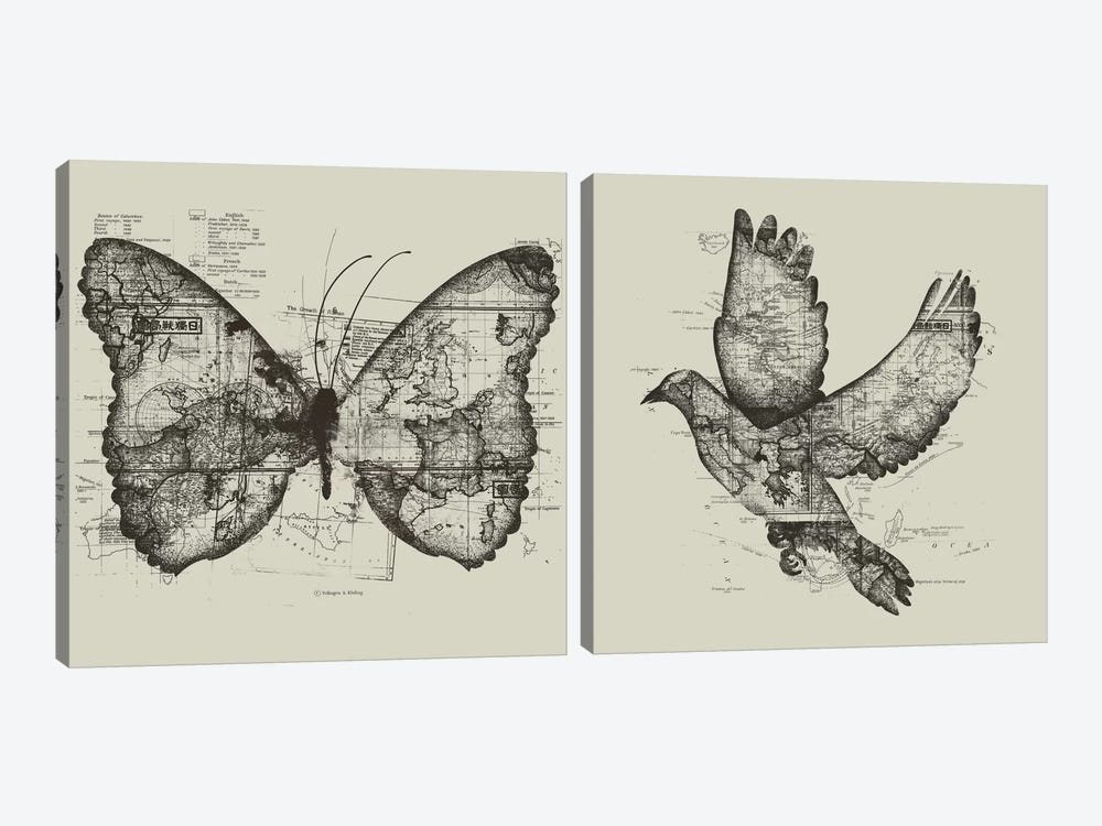 Butterfly Effect & Wanderlust Diptych by Tobias Fonseca 2-piece Canvas Artwork