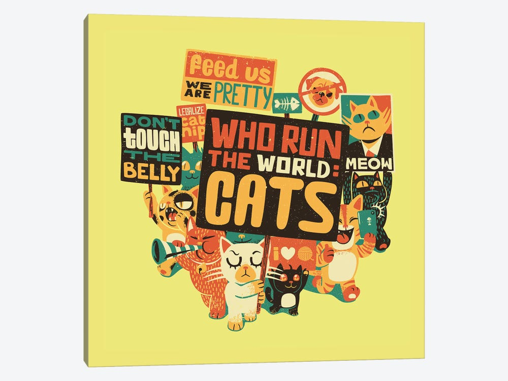 Who Run The World: Cats, Square by Tobias Fonseca 1-piece Canvas Art