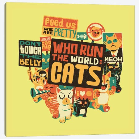Who Run The World: Cats, Square 3-Piece Canvas #TFA305} by Tobias Fonseca Canvas Print