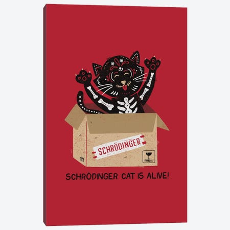 Am I Alive? Schrödinger Cat Canvas Print #TFA307} by Tobias Fonseca Art Print