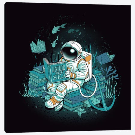 Cosmonaut Under The Sea Canvas Print #TFA309} by Tobias Fonseca Canvas Wall Art