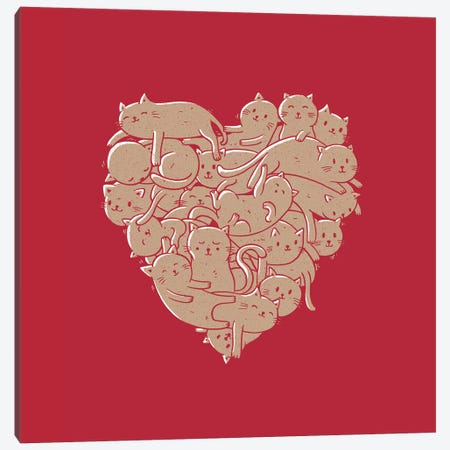 I Love Cats Heart Canvas Print #TFA317} by Tobias Fonseca Canvas Artwork