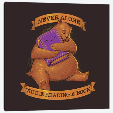 Never Alone While Reading a Book Canvas Print #TFA322} by Tobias Fonseca Canvas Art