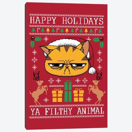 Ugly Holiday Sweater Cat Canvas Print #TFA333} by Tobias Fonseca Art Print