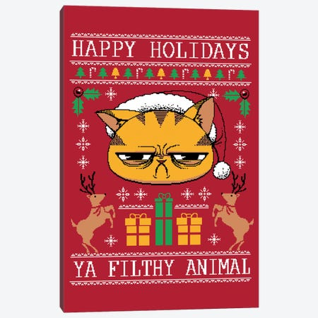 Ugly Holiday Sweater Cat Canvas Print #TFA333} by Tobias Fonseca Art Print