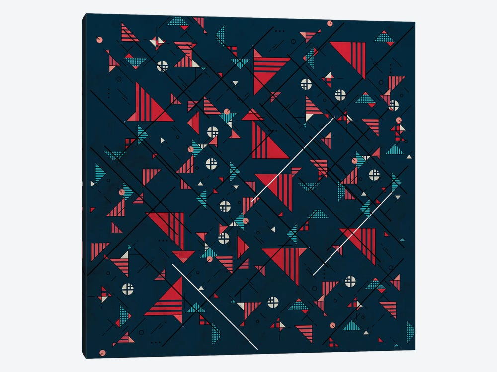 Geometric Abstract Red Pattern by Tobias Fonseca 1-piece Canvas Artwork