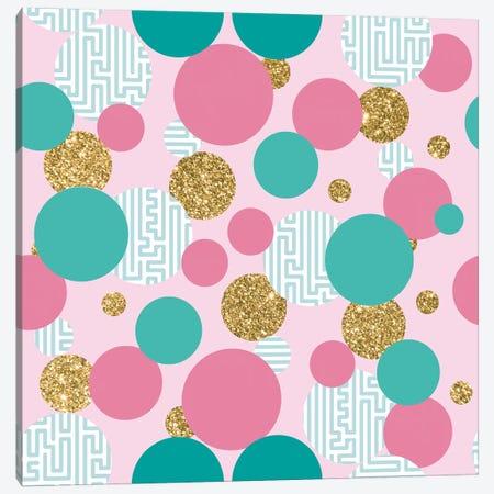 Golden Bubble Glitter Pattern Canvas Print #TFA353} by Tobias Fonseca Art Print