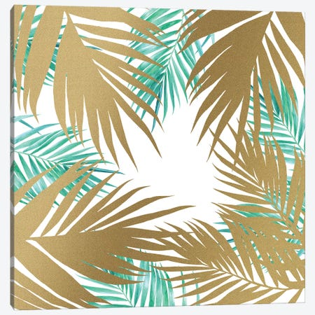 Golden Paradise Beach Pattern Canvas Print #TFA354} by Tobias Fonseca Canvas Wall Art