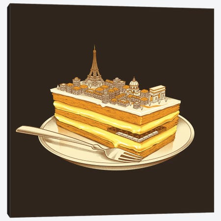 Hungry For Travels Slice Of Paris Canvas Print #TFA358} by Tobias Fonseca Art Print