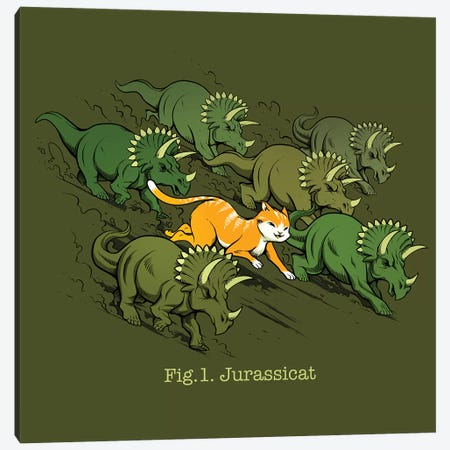 Jurassicats Canvas Print #TFA361} by Tobias Fonseca Canvas Wall Art