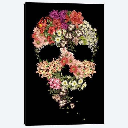 Skull Floral Decay Canvas Print #TFA413} by Tobias Fonseca Canvas Artwork