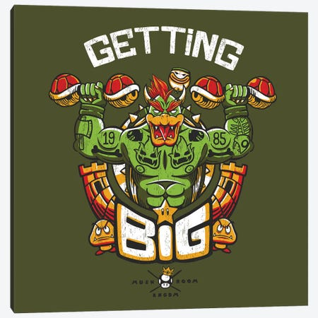 Getting Big Green Bowser Canvas Print #TFA429} by Tobias Fonseca Art Print