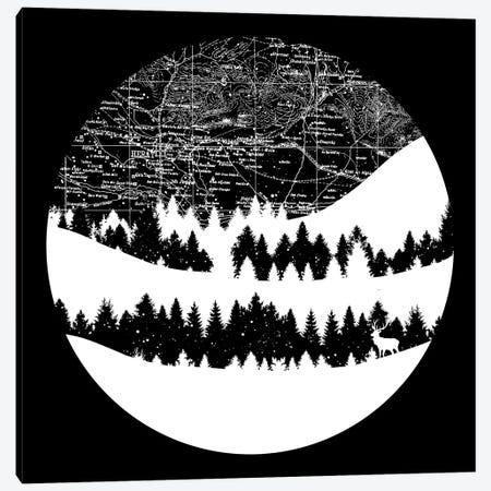 Map Silhouette Circle Canvas Print #TFA431} by Tobias Fonseca Canvas Wall Art