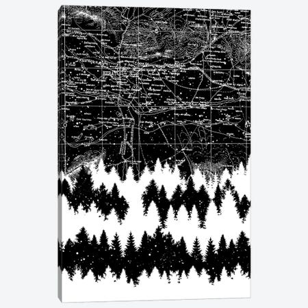 Map Silhouette Square Canvas Print #TFA432} by Tobias Fonseca Canvas Artwork