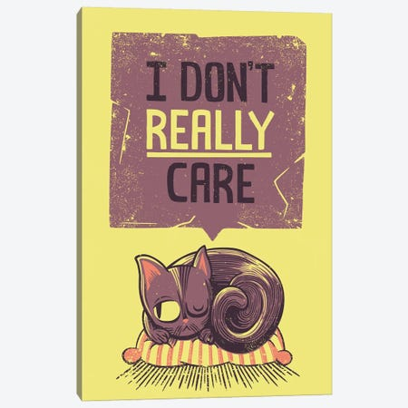 I Don't Care Cat Canvas Print #TFA444} by Tobias Fonseca Canvas Artwork
