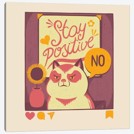 Stay Positive Cat Canvas Print #TFA451} by Tobias Fonseca Canvas Art