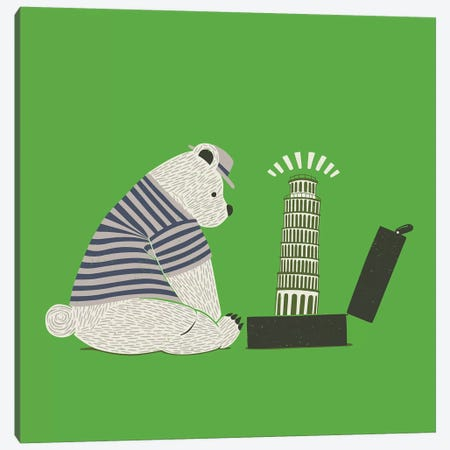 Traveler Tourist Tower of Pisa Bear Italy Canvas Print #TFA459} by Tobias Fonseca Canvas Artwork