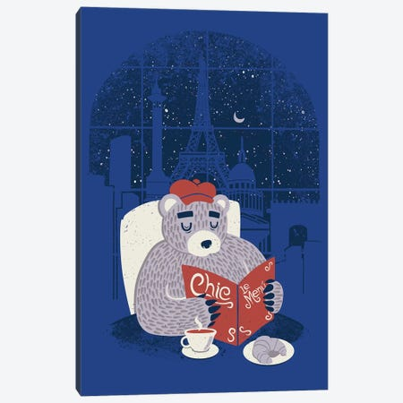 Parisian Bear Canvas Print #TFA464} by Tobias Fonseca Canvas Wall Art