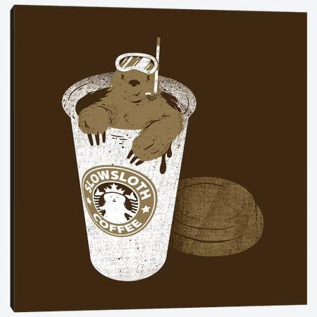 Slow Sloth Coffee Dive Canvas Print #TFA465} by Tobias Fonseca Canvas Wall Art