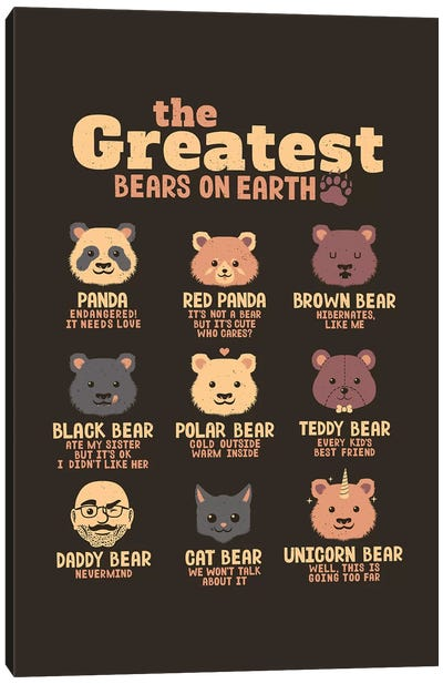 Greatest Bears Daddy Canvas Art Print
