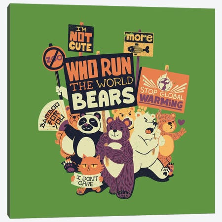Who Run The World Bears Canvas Print #TFA501} by Tobias Fonseca Canvas Wall Art