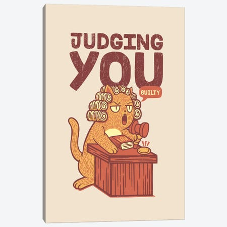 I'm Judging You Cat Canvas Print #TFA508} by Tobias Fonseca Canvas Artwork