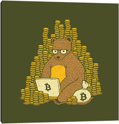 Bitcoin Miner Bear Canvas Art Print