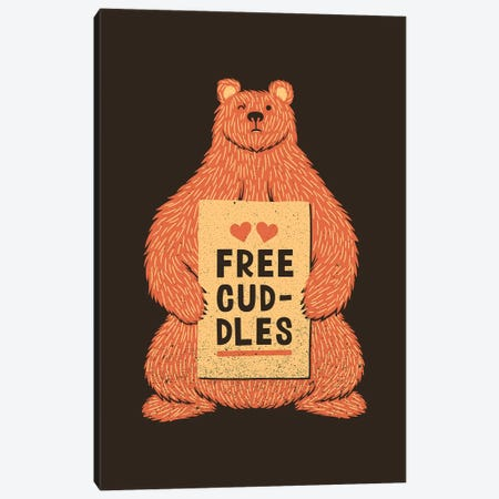 Cute Bear Free Cuddles Orange Canvas Print #TFA515} by Tobias Fonseca Canvas Wall Art