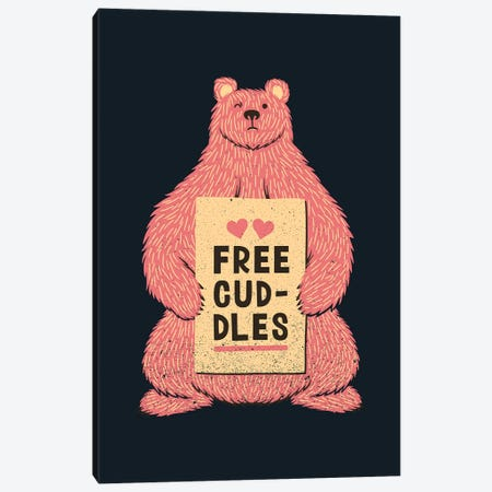 Cute Bear Free Cuddles Pink Canvas Print #TFA516} by Tobias Fonseca Canvas Artwork