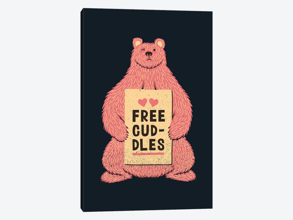 Cute Bear Free Cuddles Pink by Tobias Fonseca 1-piece Canvas Wall Art