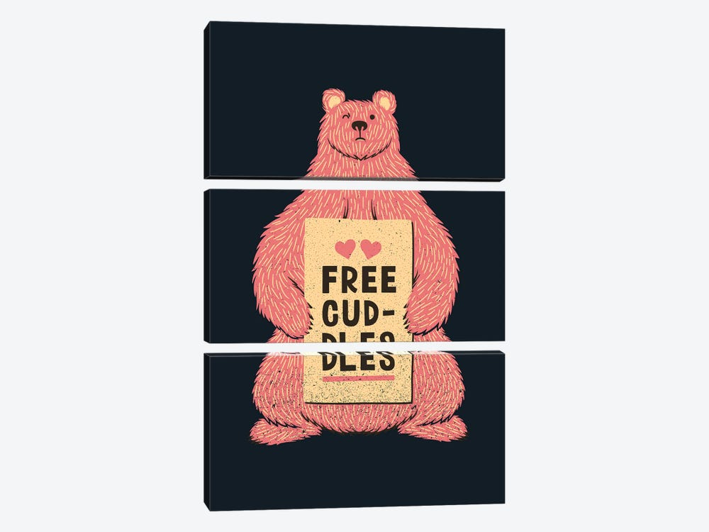 Cute Bear Free Cuddles Pink by Tobias Fonseca 3-piece Canvas Art