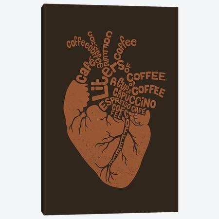 Coffee Lover Heart Canvas Print #TFA542} by Tobias Fonseca Canvas Artwork