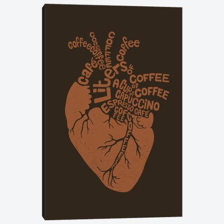 Coffee Lover Heart Canvas Print #TFA542} by Tobias Fonseca Canvas Artwork