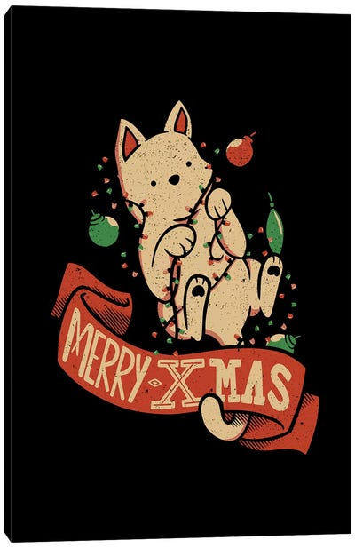 Merry Xmas Cat Canvas Art Print