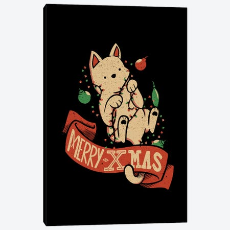 Merry Xmas Cat Canvas Print #TFA543} by Tobias Fonseca Canvas Artwork