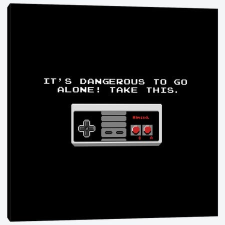 It's Dangerous To Go Alone Take This Video Game Controller Canvas Print #TFA546} by Tobias Fonseca Art Print