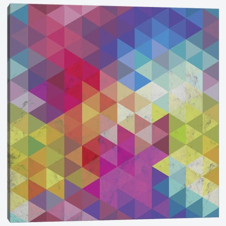 Geometric Fractal Triangles Rainbow Canvas Print #TFA553} by Tobias Fonseca Canvas Art Print