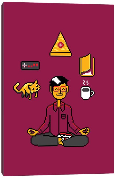 Meditation Games Coffee And Books Canvas Art Print
