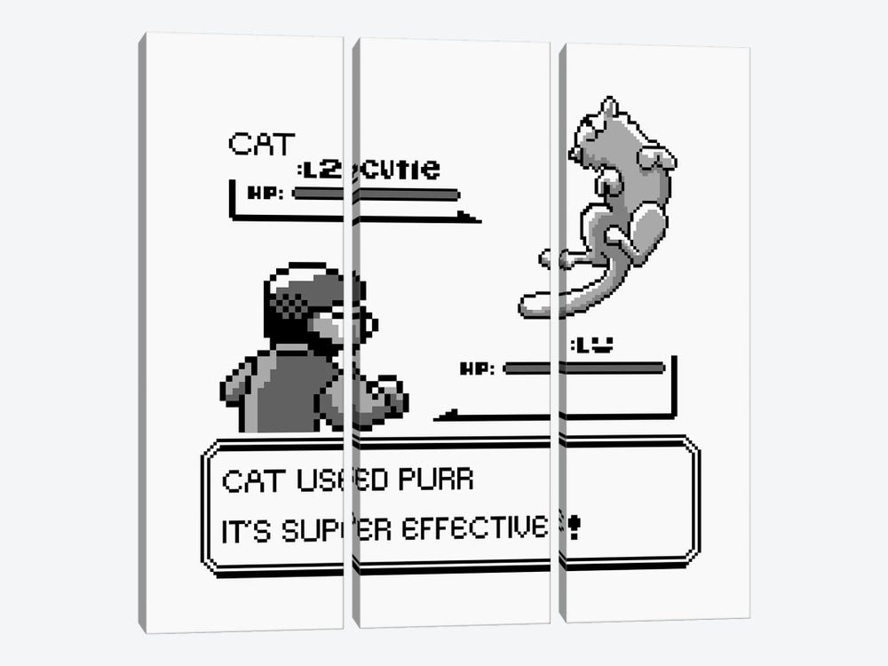 It's Super Effective Cat by Tobias Fonseca 3-piece Canvas Wall Art
