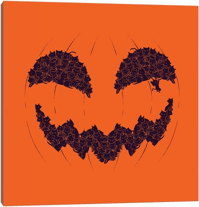 Halloween Pumpkin Cat Canvas Art Print