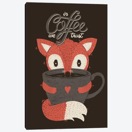 In Coffee We Trust Fox Canvas Print #TFA598} by Tobias Fonseca Canvas Print