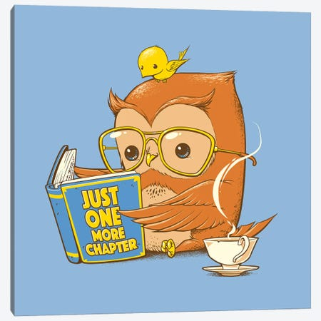 Just One More Chapter Owl Canvas Print #TFA603} by Tobias Fonseca Canvas Art Print