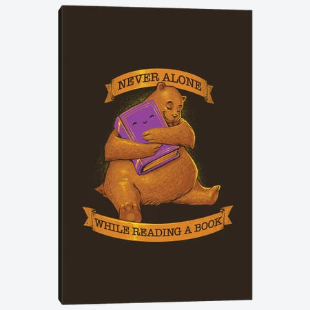 Never Alone While Reading A Book Bear Canvas Print #TFA604} by Tobias Fonseca Canvas Art