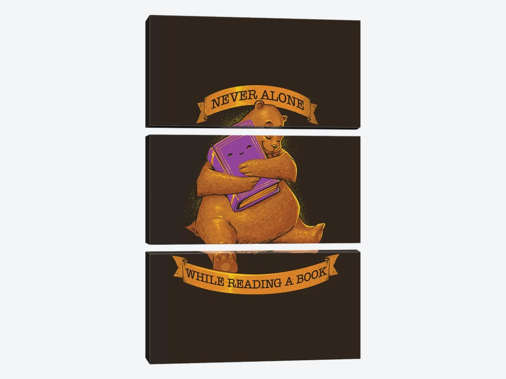 Never Alone While Reading A Book Bear by Tobias Fonseca 3-piece Canvas Art Print