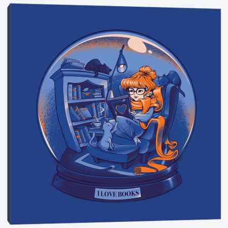I Love Books And Cats Globe Canvas Print #TFA616} by Tobias Fonseca Art Print